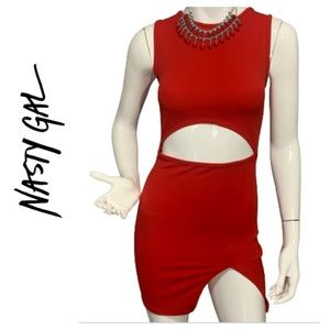 NWT Nasty Gal Red sexy cut-out bodycon dress-XS/2